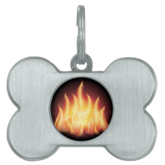 Campfire Flame Fire Pet Name Tag