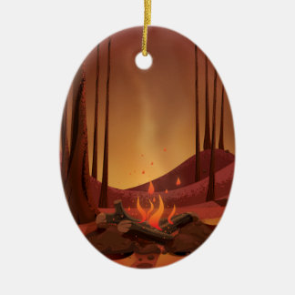 Campfire in the forest. ceramic ornament