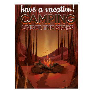 Campfire in the forest. poster