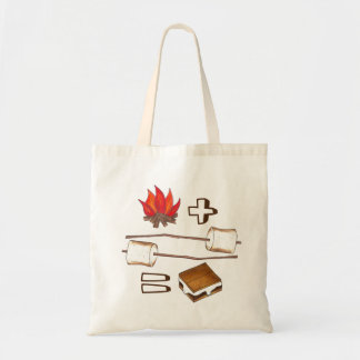 Campfire + Marshmallow = S'mores Tote Budget Tote Bag