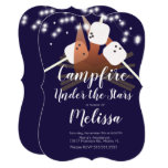 Campfire Marshmallows Stars Camping Outdoor Party Invitation
