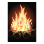 CAMPFIRE VECTOR LOGO HOT FLAMES BLACK BACKGROUNDS PERSONALIZED ANNOUNCEMENT