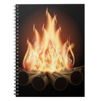 CAMPFIRE VECTOR LOGO HOT FLAMES BLACK BACKGROUNDS SPIRAL NOTEBOOK