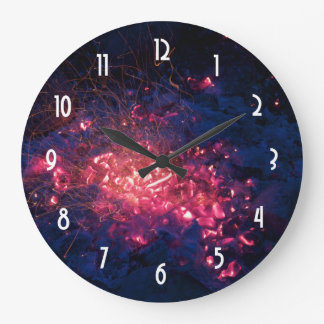 Campfire with Burning Embers Large Clock
