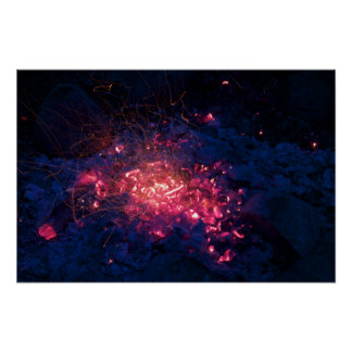 Campfire with Burning Embers Poster
