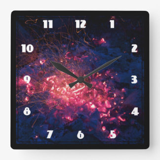 Campfire with Burning Embers Square Wall Clock