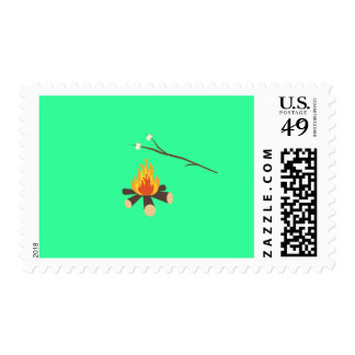 Campfire with marshmallows postage stamp
