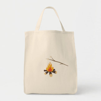 Campfire with marshmallows tote bag