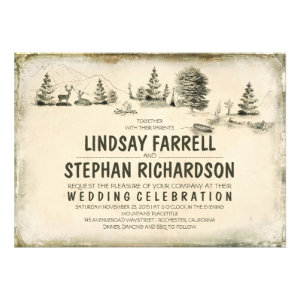 Campground Illustration Camping Wedding Invitation