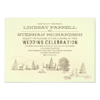 "Campground Illustration Camping Wedding Invitation 5"" X 7"" Invitation Card"