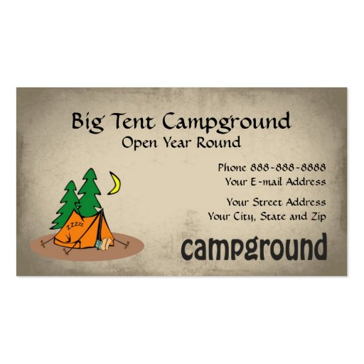 Campground tent outdoor equipment business business card for Tent business cards