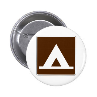 Campground Tent Street Sign Pinback Button