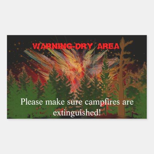 camping area alert rectangular sticker