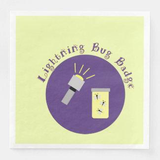 Camping Badge Lightning Bug Paper Dinner Napkin