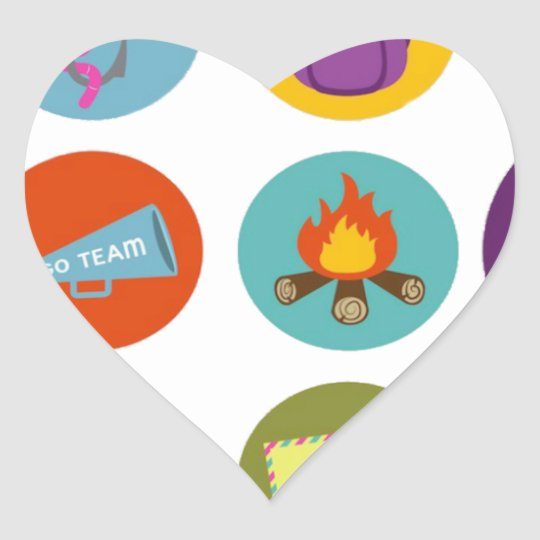 Camping Badges Heart Sticker
