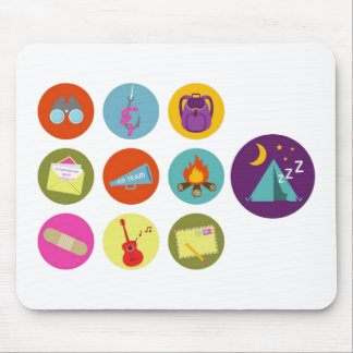Camping Badges Mouse Pad