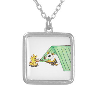 Camping Bat Silver Plated Necklace