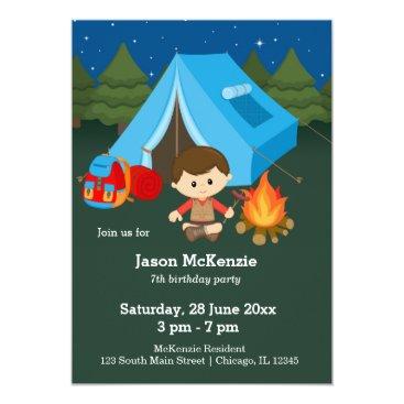Beach Themed Camping birthday boy card
