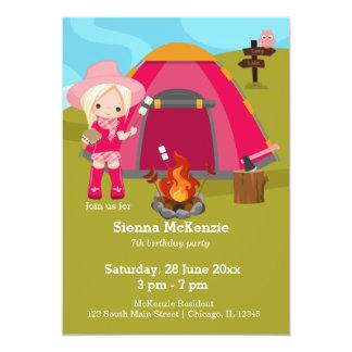 Camping birthday girl card