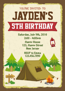 Camping birthday invitations announcements zazzle camping birthday invitation filmwisefo