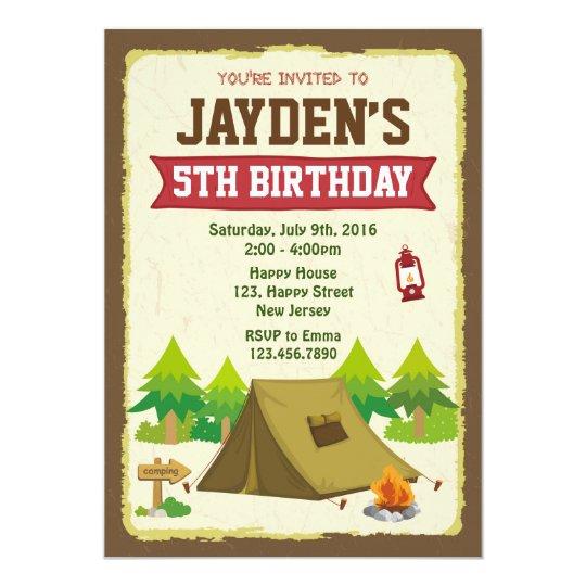 camping birthday invitation zazzle com