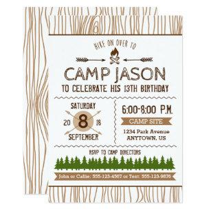 Camping Birthday Invitations Announcements Zazzle