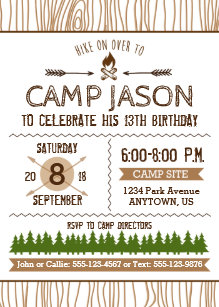 camping birthday invitations zazzle