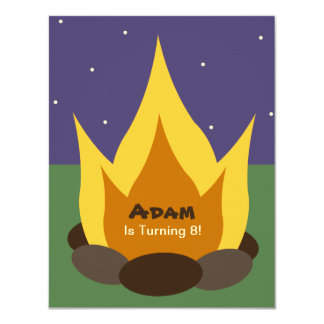 Camping Birthday Invitation - Camp Fire