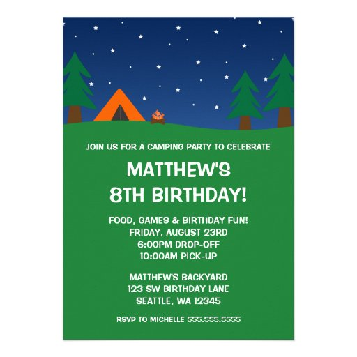 Camping Birthday Party Announcements