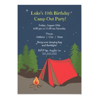 Camping Birthday Party | Boy 5x7 Paper Invitation Card