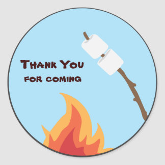 Camping Birthday Party Favor Sticker
