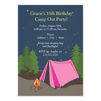 Camping Birthday Party | Girl 5x7 Paper Invitation Card