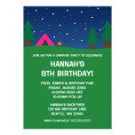 Camping Birthday Party Girls Invitations