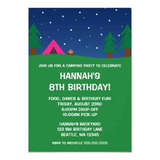 Camping Birthday Party Girls Invitations