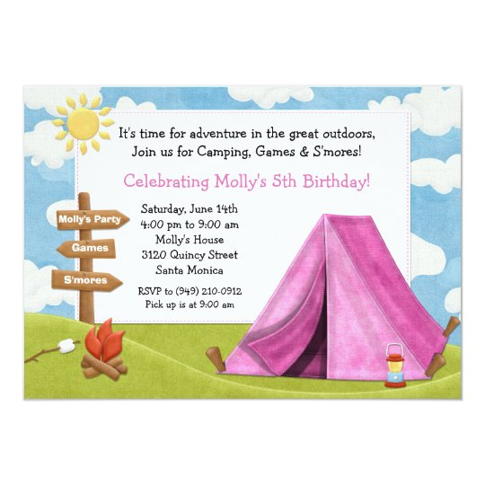 Camping Theme Invitations: Camping Birthday Party Invitation For Girl
