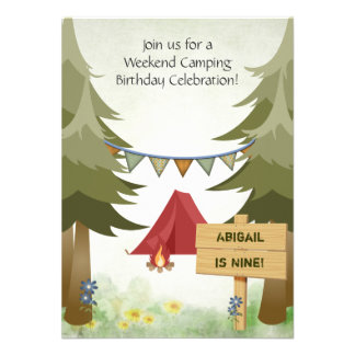 Camping Birthday Party Invitation for Girls