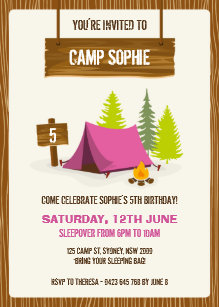 Camping birthday invitations zazzle camping birthday party invitation girl filmwisefo