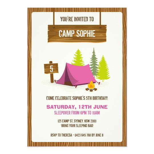 Camping Theme Invitations: Camping Birthday Party Invitation - GIRL
