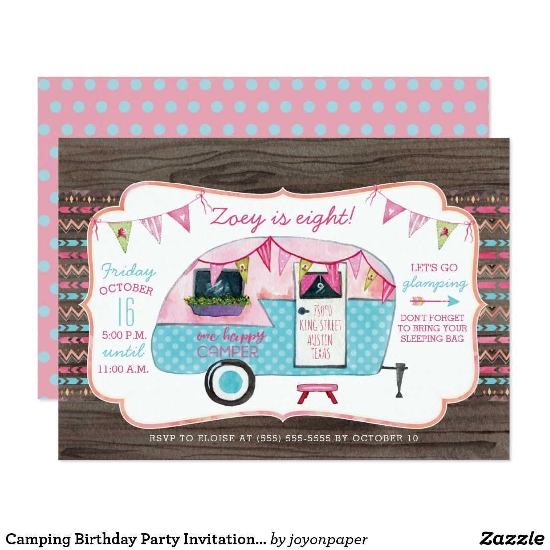 Camping Birthday Party Invitation - Girl Glamping