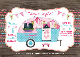 Camping birthday invitations announcements zazzle camping birthday party invitation girl glamping filmwisefo Choice Image