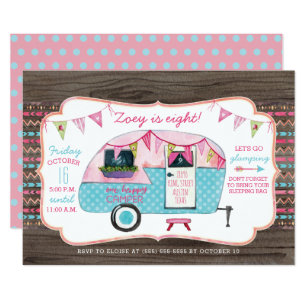 Camping birthday invitations announcements zazzle camping birthday party invitation girl glamping filmwisefo Images