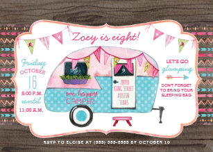 Camping birthday invitations announcements zazzle camping birthday party invitation girl glamping filmwisefo