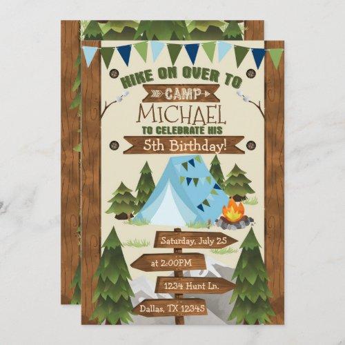 Camping Birthday Party Invitation Invite Boy