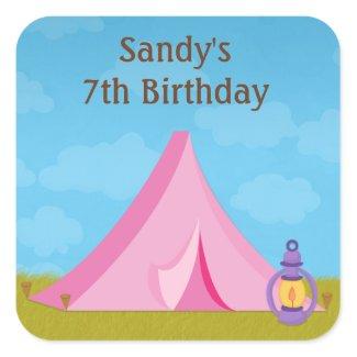 Camping Birthday Party Sticker zazzle_sticker