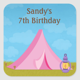 Camping Birthday Party Sticker