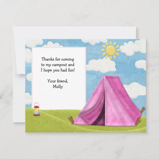 Camping Birthday Thank You Card Zazzle