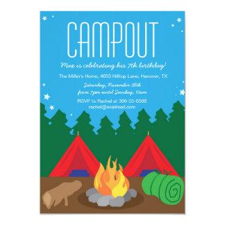 Camping Bon Fire Birthday Party Invitation