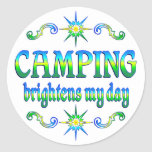 Camping Brightens Round Sticker