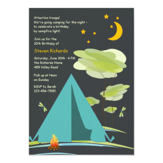 Camping by Night Invitation