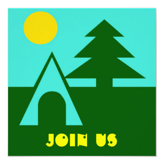 Camping Camp Tent Pine Sun Turq Party Invitations